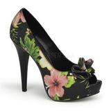svart blomster 13 cm LOLITA-11 høye damesko med høy hæl