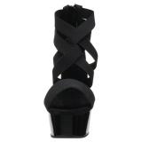 svart elastisk band 15 cm DELIGHT-669 pleaser sko med hæler til kvinner