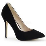 svart fløyel 13 cm AMUSE-20 dame pumps sko stiletthæl