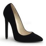 svart fløyel 13 cm SEXY-20 dame pumps sko flate hæl