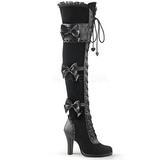 svart fløyel 9,5 cm GLAM-300 lårhøye støvler