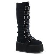 svart fløyel 9 cm DAMNED-318 høye platåstøvler til dame med spenner