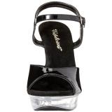 svart gjennomsiktig 13 cm COCKTAIL-509 platå høyhælte sandaler sko