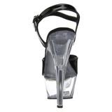 svart gjennomsiktig 15 cm Pleaser KISS-209 platå høye hæler sko