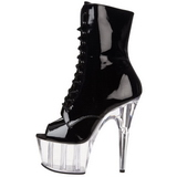 svart gjennomsiktig 18 cm ADORE-1021 ankelstøvletter med platåsåle til dame