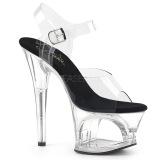 svart gjennomsiktig 18 cm MOON-708 platå høye hæler sko