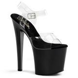 svart gjennomsiktig 19 cm TABOO-708 platå høye hæler sko