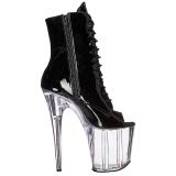 svart gjennomsiktig 20 cm FLAMINGO-1021 ankelstøvletter med platåsåle til dame