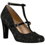 svart glimmer 10 cm QUEEN-01 store størrelser pumps sko