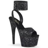 svart glinser 18 cm ADORE-791LG pleaser høye hæler med ankel stropper