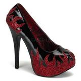 svart glitrende steiner 14,5 cm Burlesque TEEZE-27 damesko med høy hæl