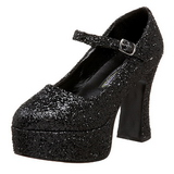 svart glitter 11 cm MARYJANE-50G platå pumps mary jane