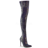 svart glitter 13 cm COURTLY-3015 pleaser lårhøye støvler