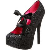 svart glitter 14,5 cm Burlesque TEEZE-10G platform pumps sko