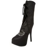 svart glitter 14,5 cm Burlesque TEEZE-31G platform pumps sko