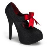 svart glitter 14,5 cm TEEZE-04G høye damesko med høy hæl