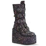 svart glitter 14 cm SWING-230G cyberpunk platåstøvler
