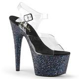 svart glitter 17 cm ADORE-708LG platå høyhælte sandaler sko