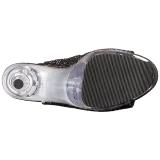 svart glitter 18 cm ADORE-1018G ankelstøvletter med platåsåle til dame