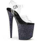 svart glitter 20 cm FLAMINGO-808LG platå høyhælte sandaler sko