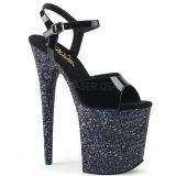 svart glitter 20 cm Pleaser FLAMINGO-809LG pole dancing sko