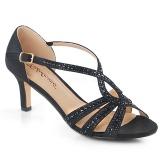 svart glitter 6,5 cm Fabulicious MISSY-03 dame sandaler med hæl