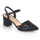 svart glitter 7 cm Fabulicious FAYE-06 dame sandaler med hæl