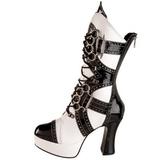 svart hvit 10,5 cm EXOTICA-1050 høye ankelstøvletter med platåsåle til dame