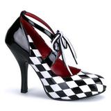 svart hvit 10,5 cm HARLEQUIN-03 høye damesko med hæl