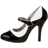 svart hvit 11,5 cm TEMPT-07 høye damesko med hæl