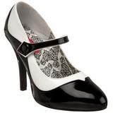 svart hvit 11,5 cm rockabilly TEMPT-07 høye damesko med hæl