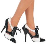 svart hvit 13 cm SEDUCE-458 oxford høye damesko med hæl