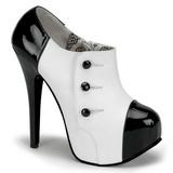 svart hvit 14,5 cm TEEZE-20 høye damesko med høy hæl