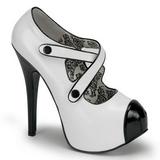 svart hvit 14,5 cm TEEZE-23 høye damesko med høy hæl