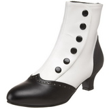 svart hvit 5 cm FLORA-1023 dame ankelstøvletter
