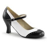 svart hvit 7,5 cm FLAPPER-25 dame pumps sko flate hæl