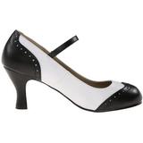 svart hvit 7,5 cm retro vintage FLAPPER-25 dame pumps med lave hæl