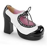 svart hvit 9,5 cm Demonia GOTHIKA-10 platå pumps høy hæl