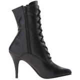 svart imitert skinn 10,5 cm VANITY-1020 flate ankelstøvler dame