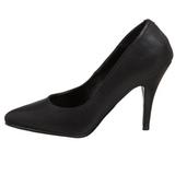 svart imitert skinn 10 cm VANITY-420 spisse pumps med høye hæler