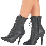 svart imitert skinn 13 cm SEDUCE-1020 flate ankelstøvler dame