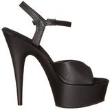 svart imitert skinn 15 cm DELIGHT-609 høye hæler damer sko