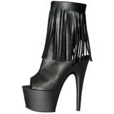 svart imitert skinn 18 cm ADORE-1019 høye ankelstøvletter med frynser til dame