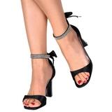 svart krystall 8,5 cm ROMANCE-372 dame sandaletter lavere hæl