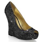 svart krystall stein 13,5 cm ISABELLE-18 wedge pumps kilehæler sko