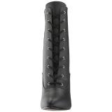 svart kunstlær 10 cm DREAM-1020 store størrelser ankelstøvletter dame