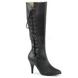 svart kunstlær 10 cm DREAM-2026 store størrelser støvler dame