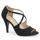 svart kunstlær 10 cm DREAM-412 store størrelser sandaler dame