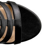 svart kunstlær 10 cm DREAM-438 store størrelser ankelstøvletter dame