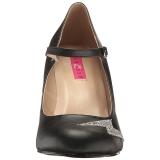 svart kunstlær 10 cm QUEEN-02 store størrelser pumps sko